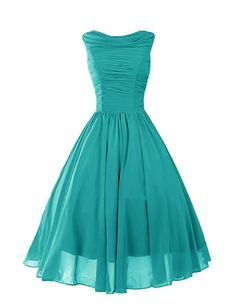 Dressystar Robe de femme, Robe de bal vintage des années 50 style rockabilly en mousseline Taille 42 Turquoise