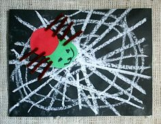 Very Busy Spiderwebs chalk drawings inspired by Eric Carle's The Very Busy Spider