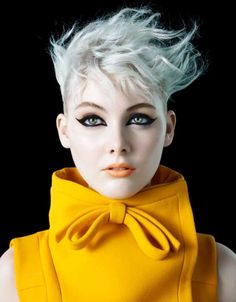 November issue for Vogue Ilatia / Michelangelo di Battista's beauty shoot starring Charlotte Benson. Outfitted by Alice Gentilucci / makeup artist Lloyd Simmonds in Cat Eyes. / Hair by Tomohiro Ohashi Beauty Shoot, Hair Beauty, Coiffure Hair, Beauty And Fashion, Yellow Fashion, Mellow Yellow, Color Yellow, Yellow Black, Bright Yellow