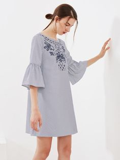 a20c432626 Eyelet Embroidered Trumpet Sleeve Tie Back Dress