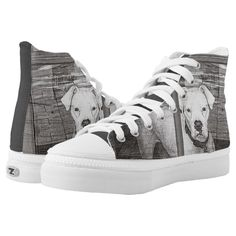 White Boxer Dog Behind Door Black and White High-Top Sneakers - tap/click to personalize and buy #HighTopSneakers #dog #boxer #white #behind #door