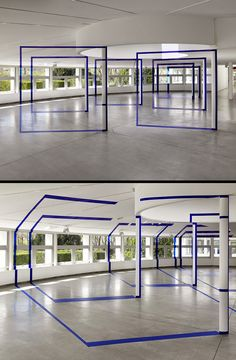 """Felice Varini, """"La Villette En Suite,"""" anamorphic projections designed to be viewed from a single location creating an optical illusion. Photo: Andre Morin"""