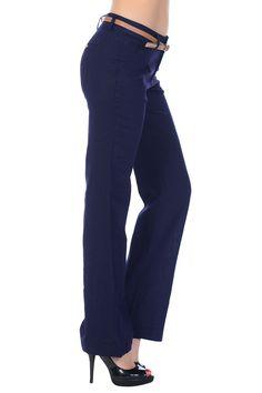 Linen Blend Belted Pants