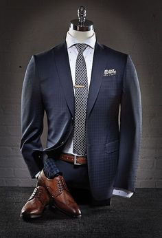 Gentlemen Wear This — General rules for every gentleman: Always match. Navy Suit Blue Shirt, Blue Suit Men, Navy Suits, Blue Suit Brown Shoes, Mens Fashion Blog, Mens Fashion Suits, Mens Suits, Men's Fashion, Fashion Check