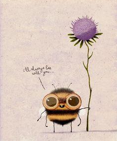 Love Buzz on Behance Cute Animal Drawings, Cute Drawings, Art Mignon, Bee Art, Bees Knees, Cute Illustration, Cute Cartoon, Rock Art, Watercolor Art