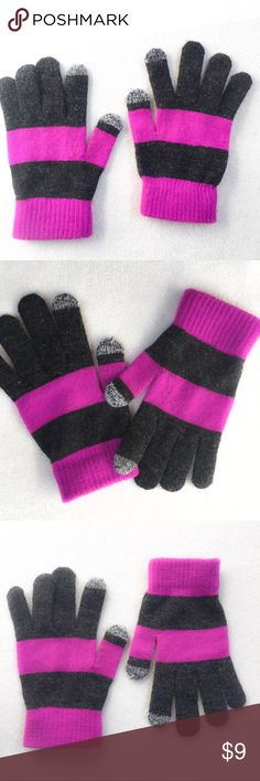 Never Worn Smartphone Magic Gloves Tried on but never worn out stretch Magic Gloves w/ tech finger tips. Purple & Charcoal Striped. One size fits most. Not the most sensitive tech finger material on the market but they do work pretty well. Accessories Gloves & Mittens