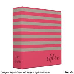 Designer Style Salmon and Beige Stripes 3 Ring Binder