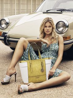 Guess heads to sunny Beverly Hills, California, for its spring 2016 accessories campaign. The fashion brand spotlights its latest styles ranging from satchels… Porsche 912, Porsche Cars, Sexy Cars, Hot Cars, Sexy Autos, Volkswagen, Pin Up, Girly Car, Porsche Models