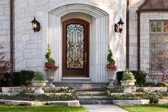db-a5037-st Aurora fiberglass doors are made to look and feel like solid wood, without any of the maintenance. Craftsman style door shown is displayed with two full glass sidelights, and decorative glass.