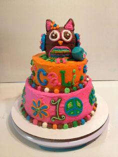 hippie owl girl first birthday cake orange pink teal - www.facebook.com/blovestobake