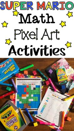 Need a fun and engaging math activities for your math classroom? Try these Super Mario Pixel Art Mystery Pictures. Your students will enjoy coloring 1 of the 26 different pixel art pictures while they practive their math skills. Primary Maths Games, Fun Math Games, Art Activities For Kids, Math Classroom, Classroom Themes, Classroom Activities, Game Themes, Mario Brothers, Math Skills