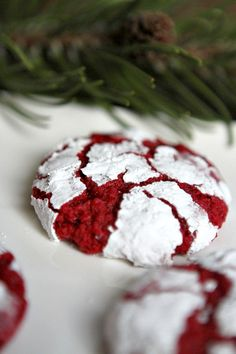 Red Velvet Gooey Butter Cookies. Ingredients: flour, sugar, cocoa, baking powder, slat, cream cheese, butter, egg, red food coloring, powdered sugar