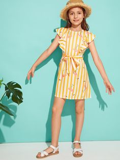 Girls Ruffle Armhole Striped Flamingo Print Belted Dress | SHEIN Frocks For Girls, Cute Girl Outfits, Kids Outfits Girls, Little Girl Dresses, Girls Dresses, Cute Young Girl, Tween Fashion, Belted Dress, Kids Wear