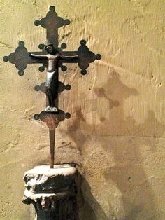 A crucifix inside the St. Joan of Arc Chapel at Marquette University.