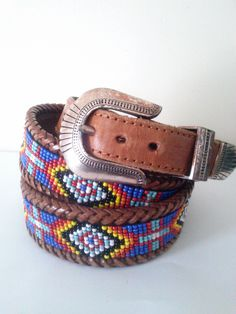 Vintage Native American Beaded Leather Belt By LL Bean / Unisex Belt / 36-38 Inch Waist / Southwestern Chic / Detailed Beadwork Belt by JulesCristenVintage on Etsy