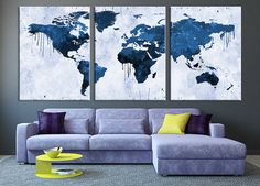 Art CANVAS PRINT - World Map Navy Blue Canvas Art Print, Watercolor World Map…