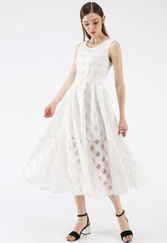 b38bd90a8d382 Eyes On Me White Gingham Organza Midi Dress - NEW ARRIVALS - Retro, Indie  and