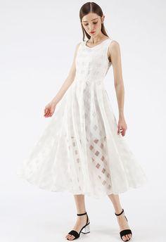 804befa42c2 Eyes On Me White Gingham Organza Midi Dress - Retro