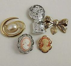 Vintage brooch pin lot Cameos, Monet, bow, bubblegum fish machine
