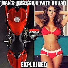 Now we know why Ducati is so sexy:))) Lady Biker, Biker Girl, Super Bikes, Motorcycle Humor, Motorcycle Shoes, Up Auto, Ducati Hypermotard, Ducati Superbike, Vw Arteon