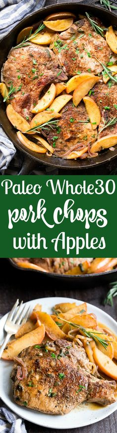 One-skillet pork chops with apples features seasoned, savory juicy pork chops with sweet apples simmered to perfection! This Paleo and Whole30 compliant dinner is easy, fast and great for weeknights! Serve as is or with cauliflower rice, roasted sweet potatoes or a green salad.