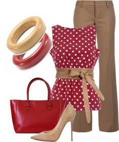 Red and polka dots!!  I would wear red shoes instead, though. . .