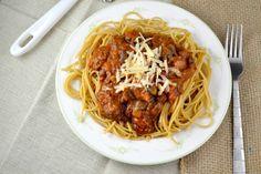 loaded veggie meatless spaghetti