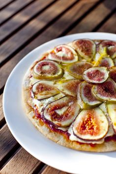 Fig and goat cheese pizza. I buy gluten free  pizza dough from a local restaurant and this is one of the best things I have ever eaten. You can use dried figs if need be, just soak them for a long time until plump and soft.