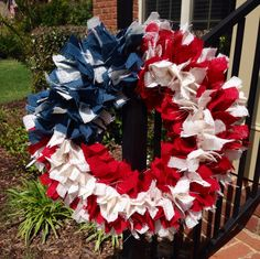 LOVE LOVE LOVE this wreath! Perfect for every patriotic holiday! Just ordered one! 20 American Flag burlap wreath Fourth of July by BurlapMamas, $40.00