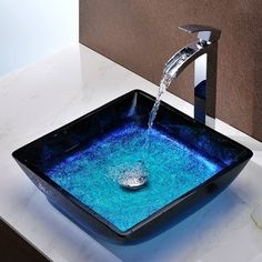 Shop the Viace Blazing Blue Glass Square Vessel Bathroom Sink at Perigold, home to the design world's best furnishings for every style and space. Plus, enjoy free delivery on most items. Bathroom Interior, Modern Bathroom, Master Bathroom, Bathroom Ideas, Stone Bathroom, Unique Bathroom Sinks, Square Bathroom Sink, Stone Bathtub, Modern Sink