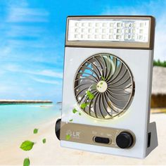 Solar Power/Ac Rechageable 2-In-1 Camping Cool Fan Light Tent Led Lantern Cooler