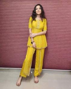 Buy Yellow Color Plazo Suit by Akanksha Singh at Fresh Look Fashion Party Wear Indian Dresses, Designer Party Wear Dresses, Indian Gowns Dresses, Indian Fashion Dresses, Dress Indian Style, Indian Wedding Outfits, Kurti Designs Party Wear, Indian Outfits, Diwali Dresses