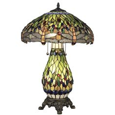 Serena D'italia Tiffany Dragonfly 25 in. Bronze Table Lamp with Lit Base-T18275TGRG - The Home Depot