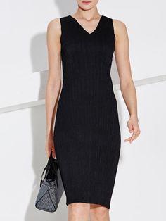 Black V Neck Simple Mini Dress Stylewe