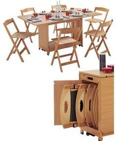 Mesa plegable blanca con sillas dentro todo en uno - Mesa plegable con sillas dentro ...