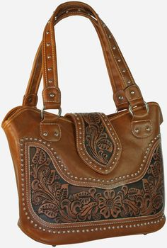 Montana West Tooled Leather Concealed Carry Bucket Bag - Brown