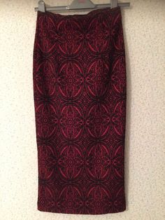 05a04d699c New M&S red and black print midi pencil skirt size 8 #fashion #clothing #