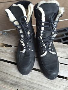 Eddie Bauer Black Leather Shearling Lined Lace Up Ankle Boots 8 Mint Free SHIP | eBay