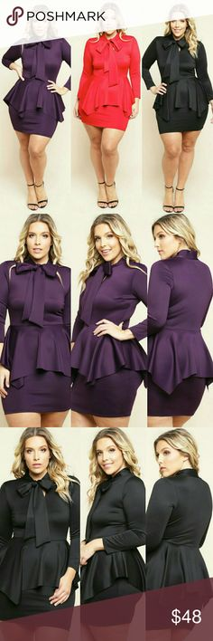 MINI BOWED PEPLUM DRESS plus size mini dress with a bowed neckline and 3/4 sleeves. Features a peplum. Solid colored all over. - 96%Polyester 4%Spandex  - Hand Wash  - Made in USA C&C Dresses Midi