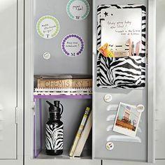 Gear-Up Black Zebra Locker Dry-Erase/Pocket #pbteen