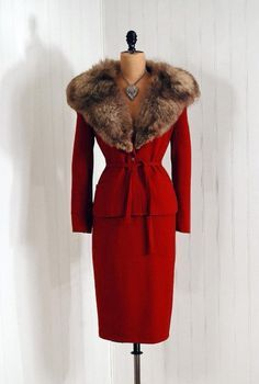 1950's Vintage Raspberry-Red Wool Hourglass Fox-Fur Designer-Couture Belted Rockabilly Bombshell Femme-Fatale Low-Cut Plunge Winter Pencil-Wiggle Holiday Wedding Cocktail Party Dress Suit NEVER WORN http://www.etsy.com/listing/36809931/1950s-vintage-raspberry-red-wool?utm_content=bufferc3d34&utm_medium=social&utm_source=pinterest.com&utm_campaign=buffer