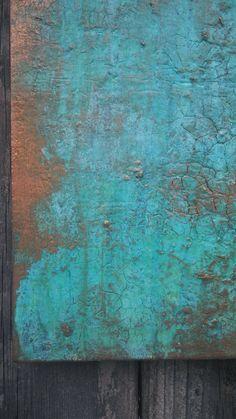 Textured Copper Verdigris Turquoise Painting by AmyNealArtStudio
