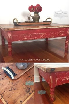 Vintage rustic coffee table hand painted red and heavily distressed. Top left natural and sealed.