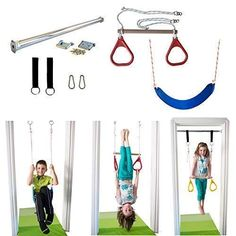 DreamGYM Indoor Swing - Trapeze Bar & Gymnastic Rings Combo and Rope Swing for Doorway Gym Indoor Jungle Gym, Indoor Swing, Indoor Playground, Kids Indoor Gym, Kids Gym, Sensory Swing, Gymnastic Rings, Indoor Climbing, Basement Gym