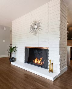 quartz for fireplace hearth | There was no master bath at all in this house, only a small hallway ...