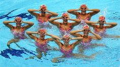 Canada competes in the Women's Teams Synchronised Swimming Free Routine final #Olympics Olympics