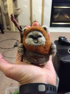 Needle felted ewok. Created by @creativemewzings