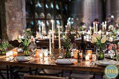 Wedding tables overlooking Brooklyn Winery's Barrel Room.