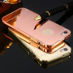 Pink iPhone 5s For iPhone 5 5S Mirror Back Capa Ultrathin Alumimum Metal Frame Phone Case For iPhone 5 5S 5G Luxury Hybrid Protective Cover Accessories