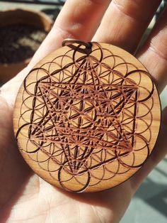 Metatron's Cube & Flower of Life Laser-etched by Biomorphics